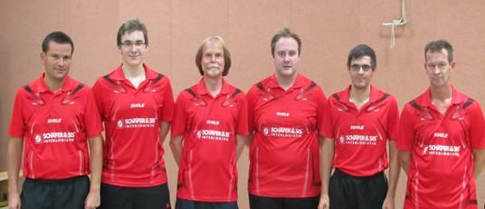 Das Bild zeigt die Meistermannschaft v.l.n.r :  M. Meister, J. Müermann, R. Treude, P. Flender, T. Hähn, M. Kroel